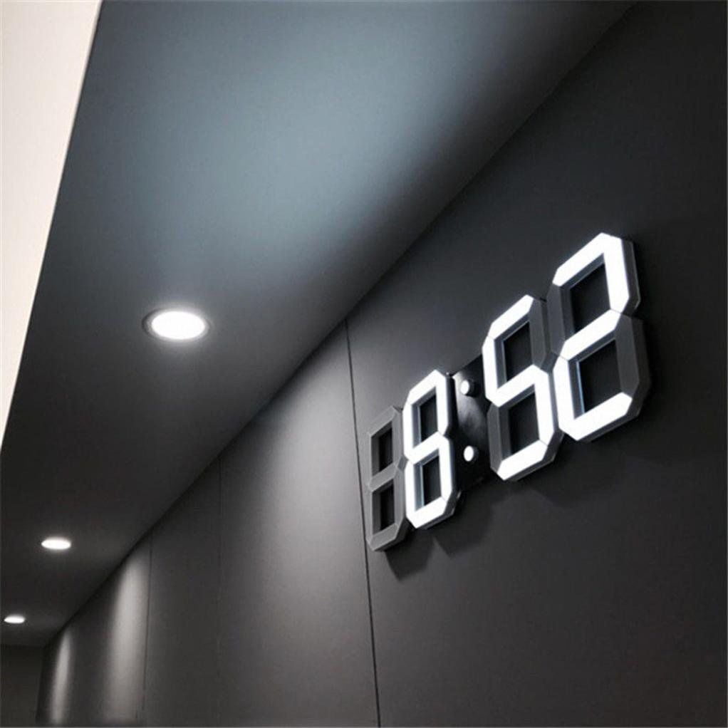 BB67 Clock Modern Digital LED Table Desk Night Wall Clock Alarm Watch 24 or 12 Hour Display (White) by BB67 (Image #2)