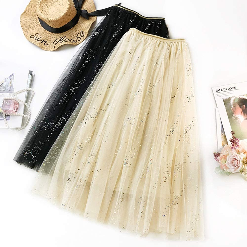 Women's Lace Skirt A-Line Layered Princess Shining Mesh Tulle Midi Skirt Casual Fashion Maxi Skirt (Color : Black) Beige