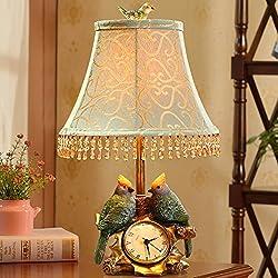 Bedroom Decoration Table lamp Bird Clock Pastoral Modern Creative lamp