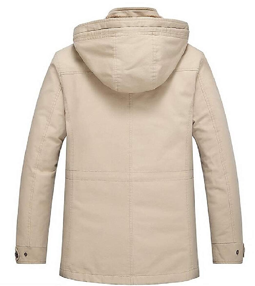 RRINSINS Mens Outdoor Mid Long Warm Hooded Oversize Swearshirt Jacket
