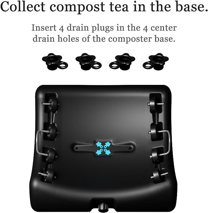 El compostador más lindo del mundo, Produce compost sólido y líquido. Seguro para alimentos, sin BPA y libre de óxido, no requiere ensamblaje, Todo en uno, Mini Compostador Rotatorio y colector de