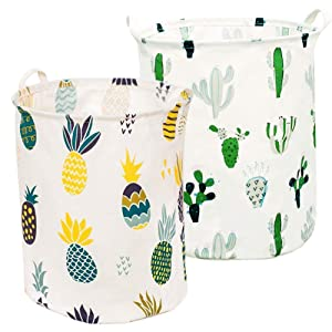 KEFAN 2PCS Laundry Hamper, Collapsible Cotton Linen Laundry Basket with Waterproof Coating Inner 19.7 Inch Height (Pineapple+Cactus)