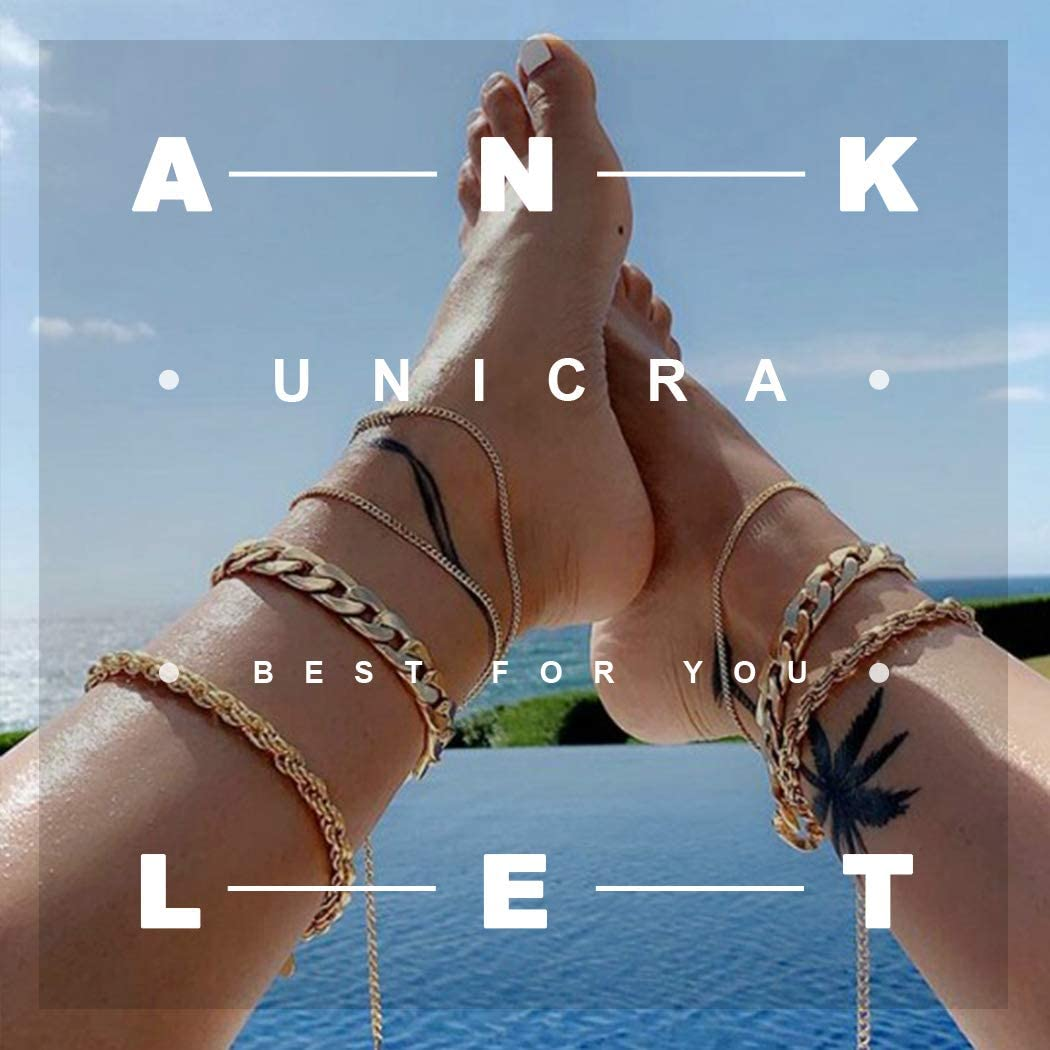 Unicra Boho Silver Conch Anklet Turtle Tassel Foot Chain Beach Starfish Jewelry Anklet for Women and Girls