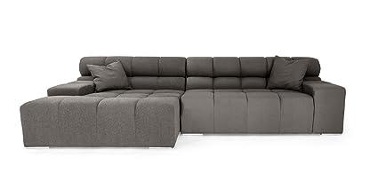 Kardiel Cubix Modern Modular Sofa Sectional Left, Cadet Grey Cashmere