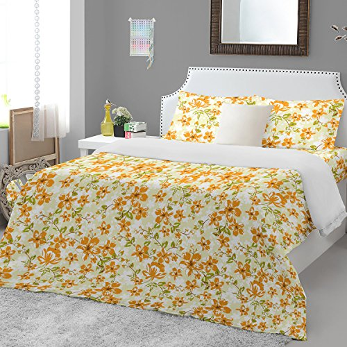 Welhome Essential 104 TC Cotton Double Bedsheet with 2 Pillow Covers – Orange