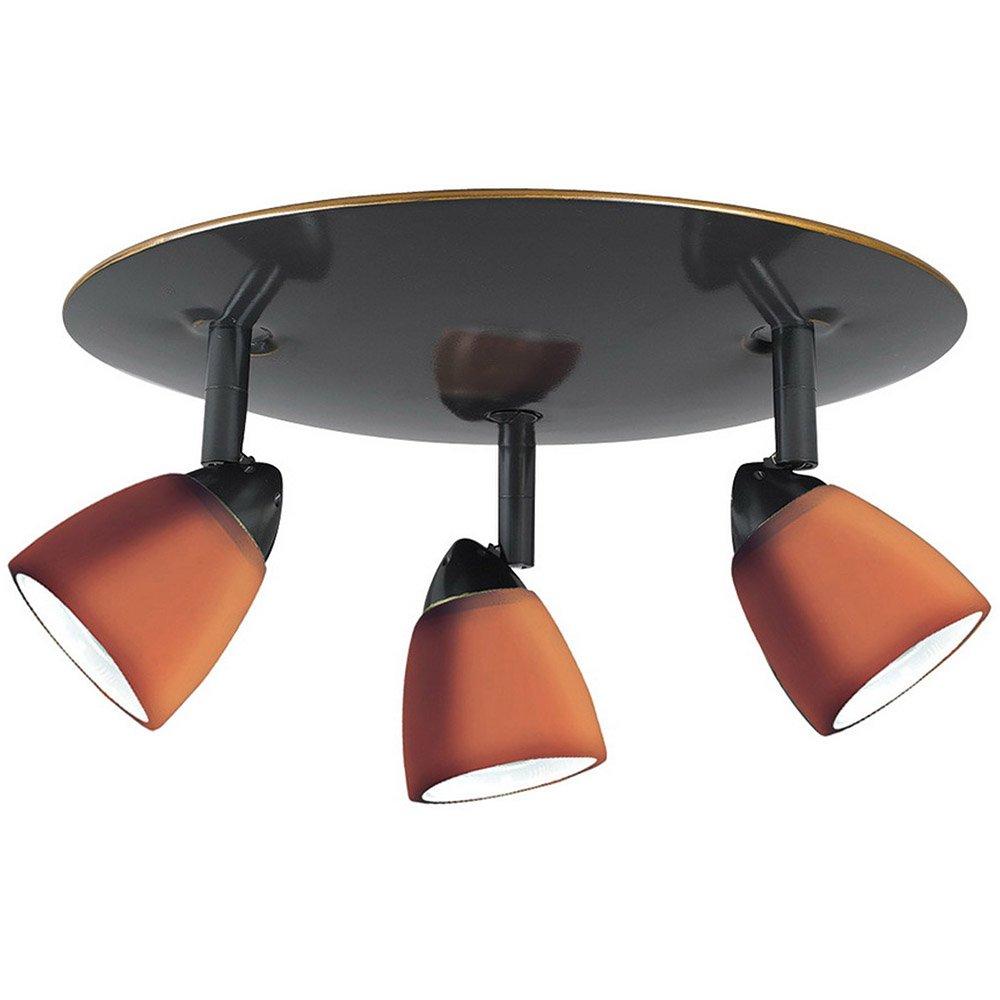 Cal Lighting SL-954-3R-DBWH Spot Light with White Glass Shades, Dark Bronze Finish