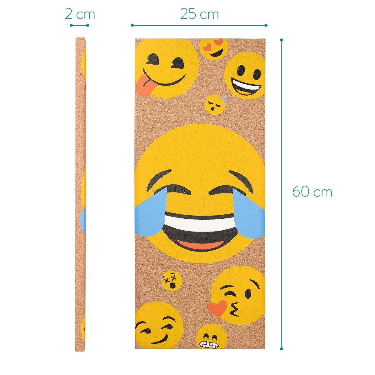Navaris Cork Bulletin Board - 25 x 60 cm Push Pin Memo Corkboard in Smiling Emojis Design with Push Pins for Kitchen, Classroom, Home Office, Bedroom