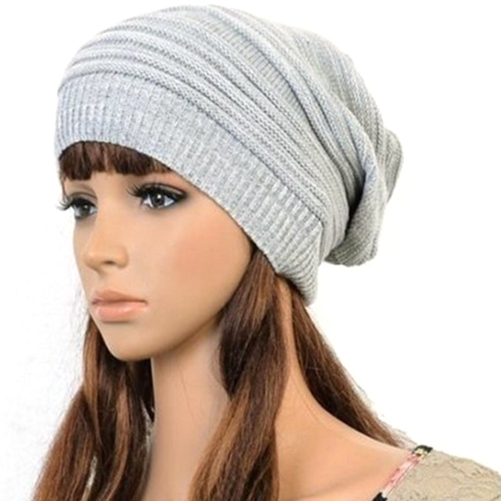 Bluelans® Hot Fashion Slouch Baggy Beanie Cap Slouchy Skull Hat Mens Womens Knit Hat (Light Grey)