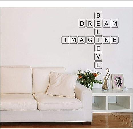 Pegatinas de pared letras de scrabble calcomanías de pared jardín de infantes sala de estar TV pared dormitorio sala de niños decoración de oficina murales vinilo 57X68cm: Amazon.es: Bebé