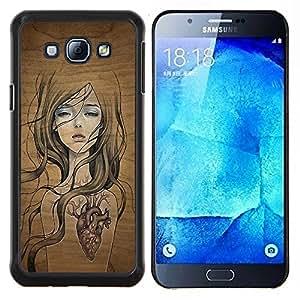 YiPhone /// Prima de resorte delgada de la cubierta del caso de Shell Armor - Naturaleza Madera Árbol Soul Chica bonito del corazón - Samsung Galaxy A8 A8000