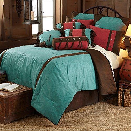 HiEnd Accents Turquoise Cheyenne Western Comforter Set, Super King Cheyenne Bedding