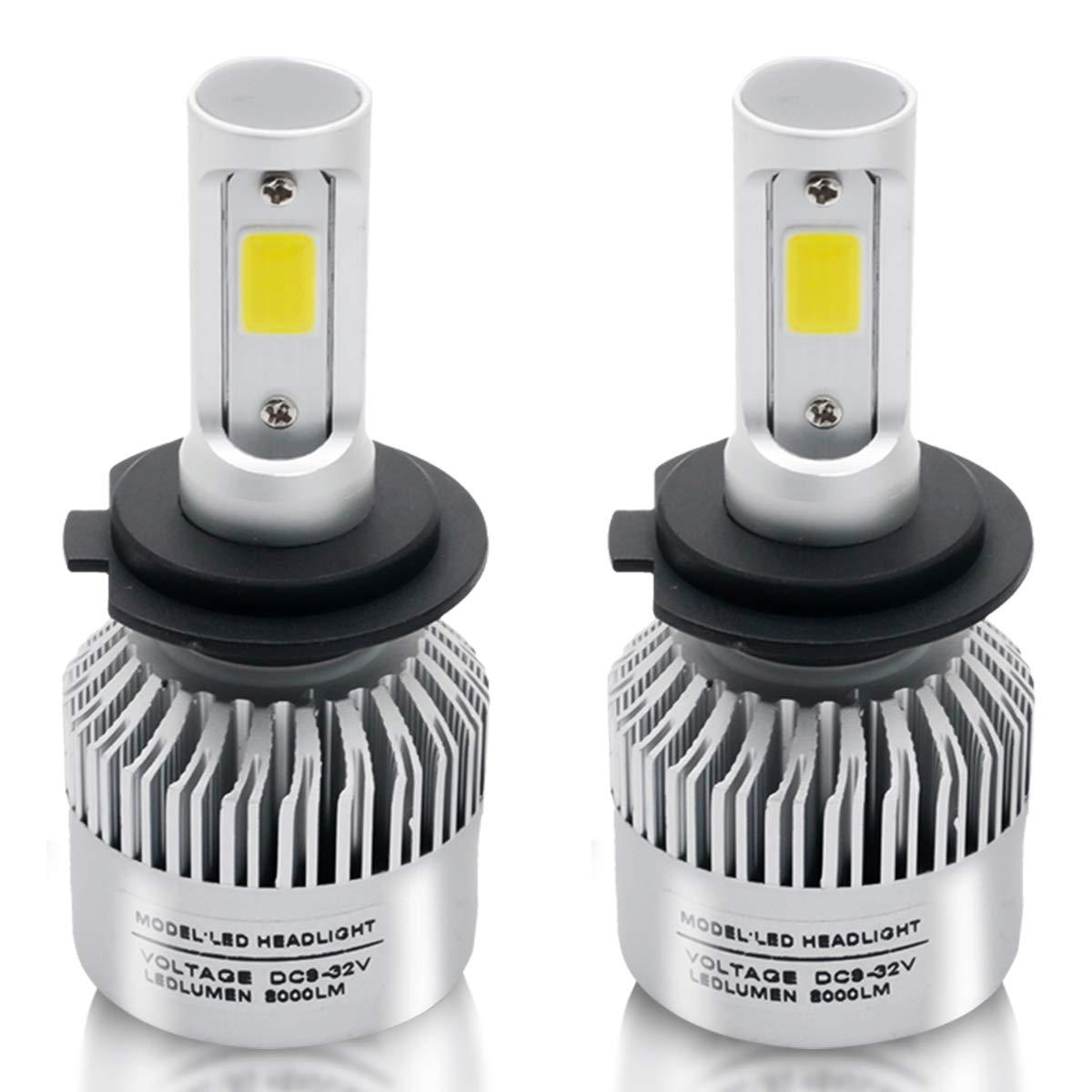 LED Headlight Bulbs H7 Conversion Kits,Maso Car LED Headlights 72W/Pair 6000K 8000LM Super Bright COB Chips