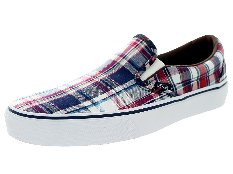 Amazon.com | Vans Unisex Classic Slip-On (Plaid Mix) Dress Blues/White  Skate Shoe 8.5 Men US / 10 Women US | Shoes