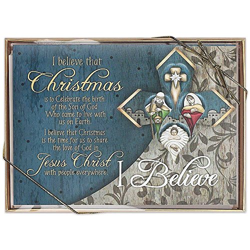 I Believe that Christmas 5 x 7 inch Christmas Gift Box of Greeting Cards Package of 12 (Baby Basket Card Gift Greeting Shower)