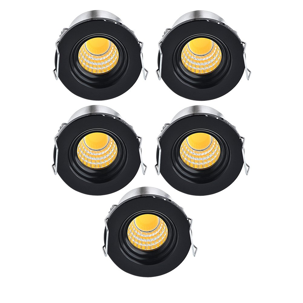 INHDBOX 3W 5Pack Mini COB LED Lights,Aluminum Recessed Ceiling/Counter/Cabinets/Cupboard Lighting Fixture Black Warm&White Light (Warm Light-3000K)