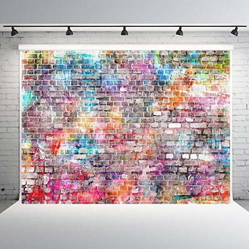7x5ft Brick Wall Photography Backdrops Vinyl Colorful Graffiti Photo Studio Background Props for Birthday -