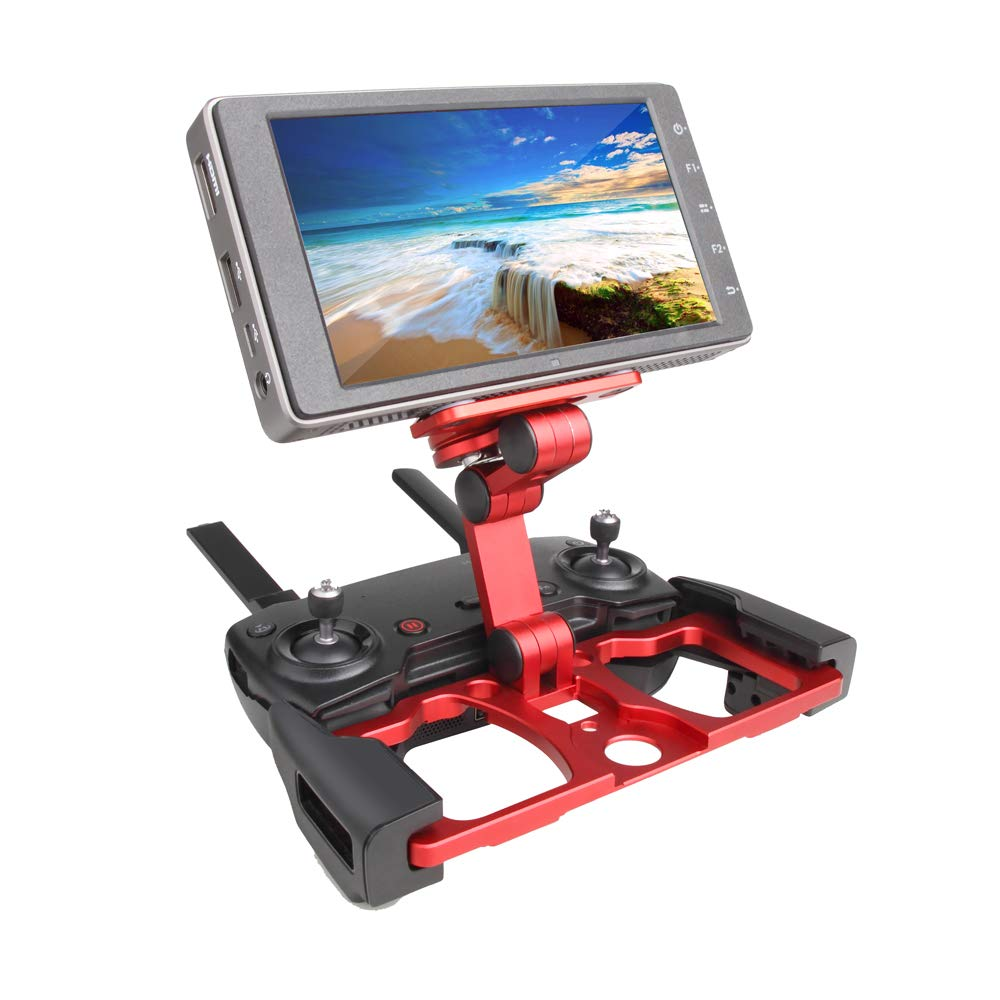 Remote Controller Smartphone/Tablet Clip Holder for DJI Mavic 2 Pro/Air/Spark Drone CrystalSky Monitor Bracket Color Red