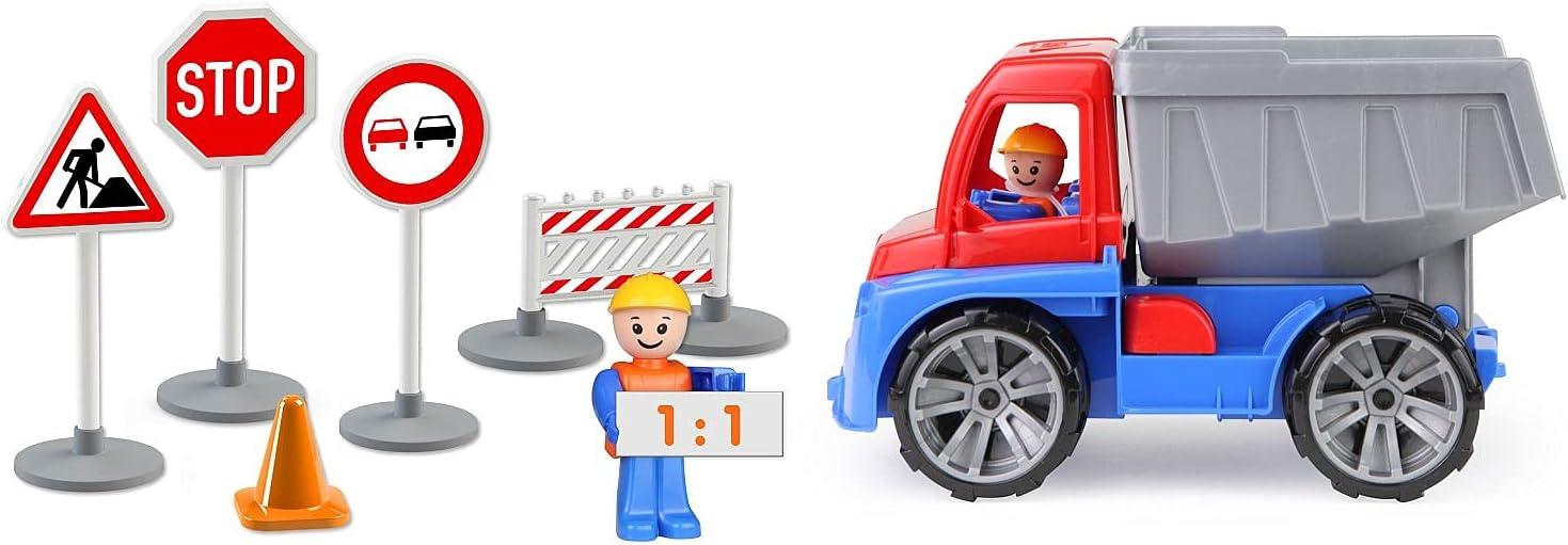 Lena Truxx 04453 Camion Poubelle Robuste avec Fonction 2 Doubles poubelles et Figurine de Jeu articul/ée pour Enfants /à partir de 2 Ans Vert