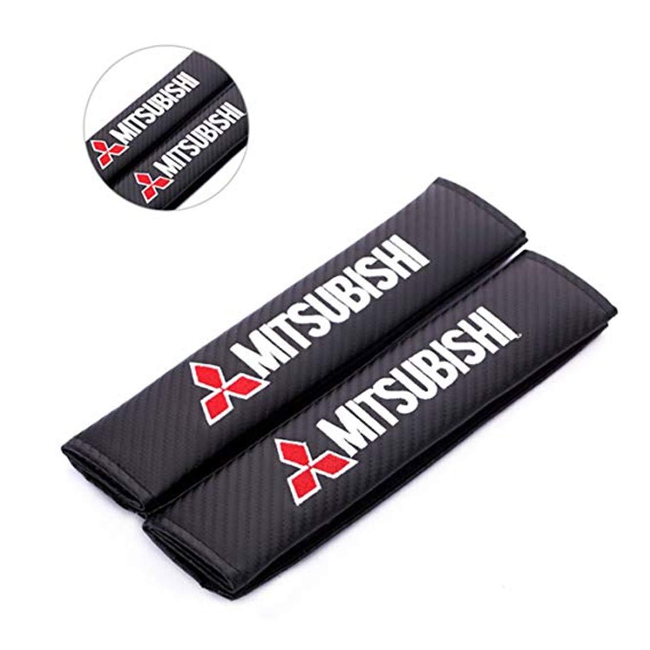 fanlinxin - 2 Fundas de Fibra de Carbono para cinturó n de Seguridad de Coche con Bordado para Mitsubishi