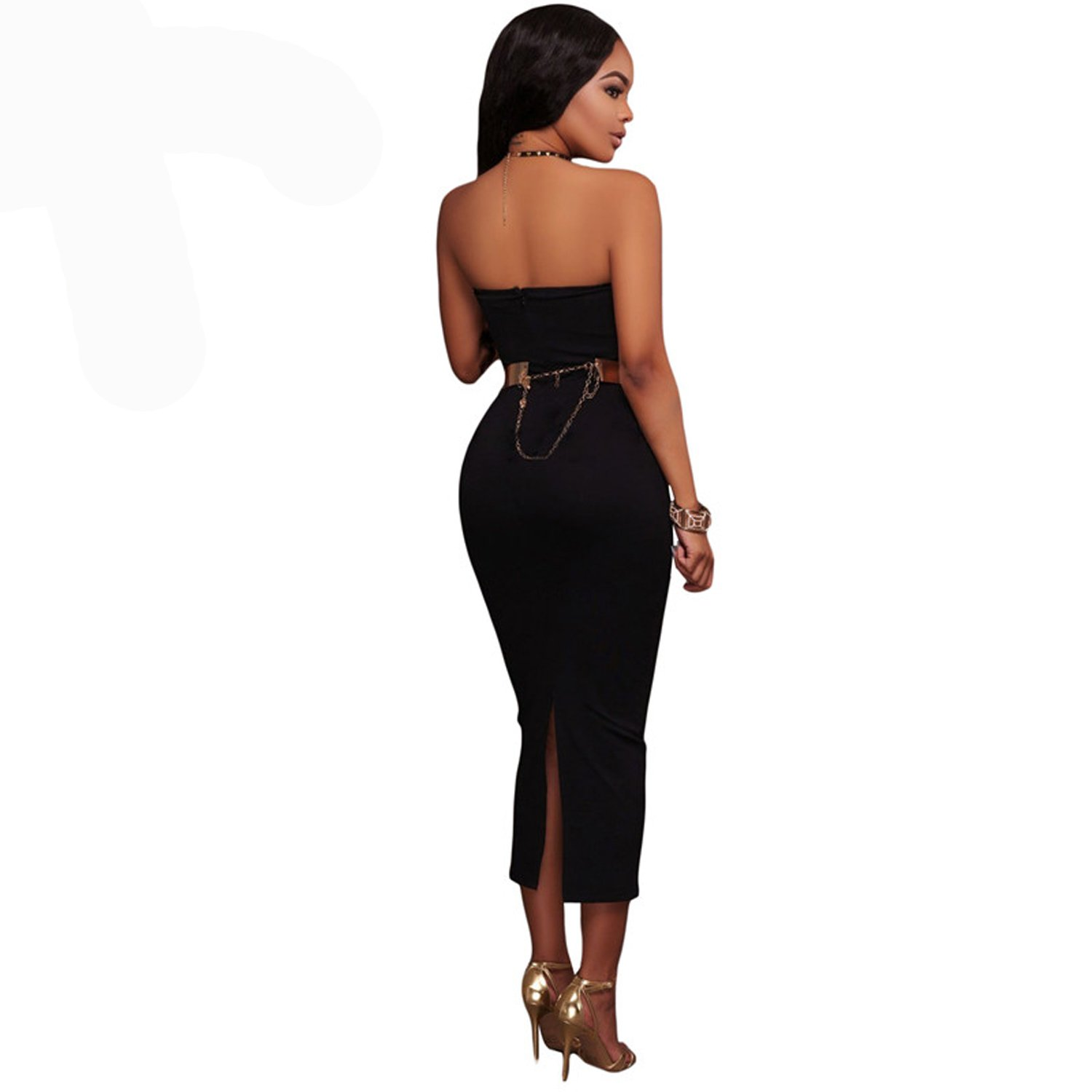 Women Midi Dress Black Strapless Side Lace Up Hem Bodycon Vestidos Summer Celebrity Evening Party Dresses at Amazon Womens Clothing store: