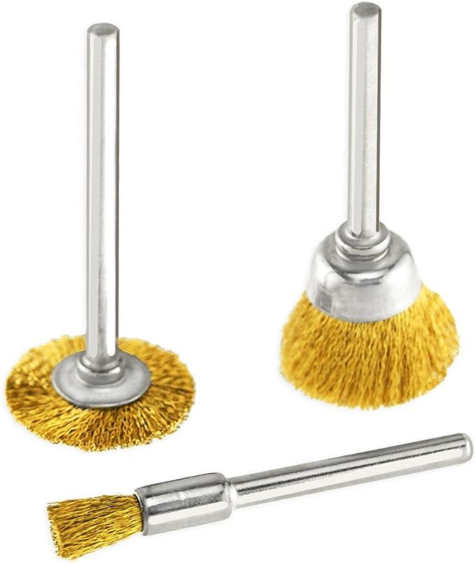 BU/_ 36Pcs Brass Steel Wire Brush Polishing Wheels Full Kit Pen Cup Dremel tool E