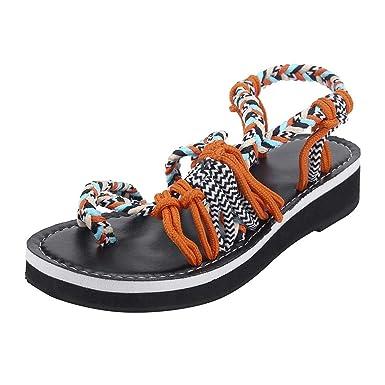 1a52502a137d85 Amazon.com  refulgence Women Large Size Rome Bandage Rope Knot Sandals Peep  Toe Set Toe Casual Flat Beach Sandals  Clothing