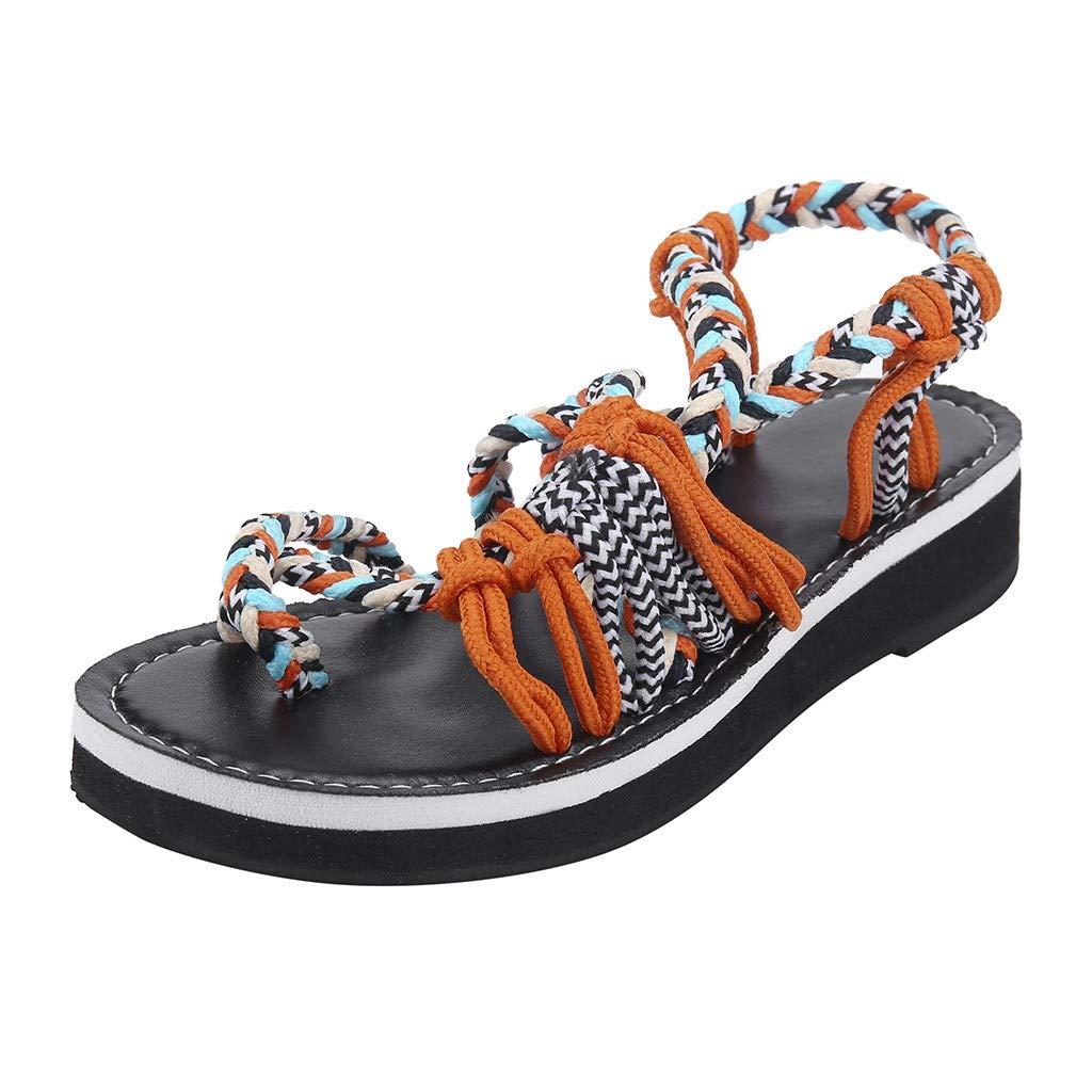 Flat Sandals for Women Palm Leaf/Flip Flops Sandals for Women Oceanside/Slippers/Summer Bandage Beach Shoes Orange