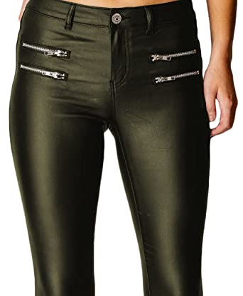 8fc2bde85e8ee Womens Wet Look Sexy Glossy PU Stretch High Waisted Faux Leather Skinny Fit  Jeans Trousers Pants RK