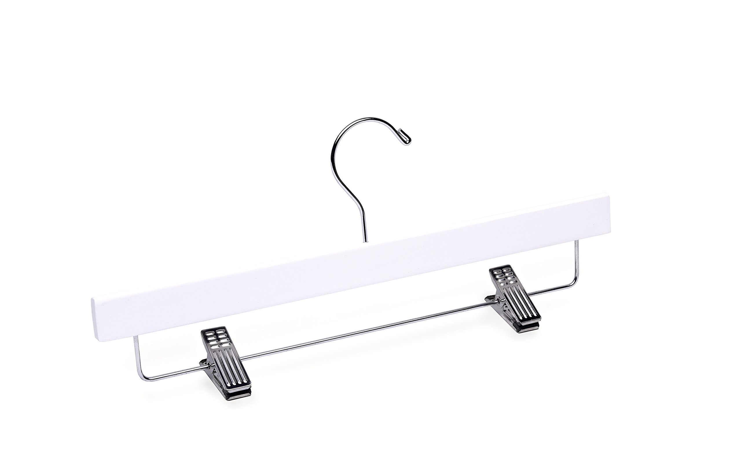Adult White Bottom with Clips Wooden Hanger