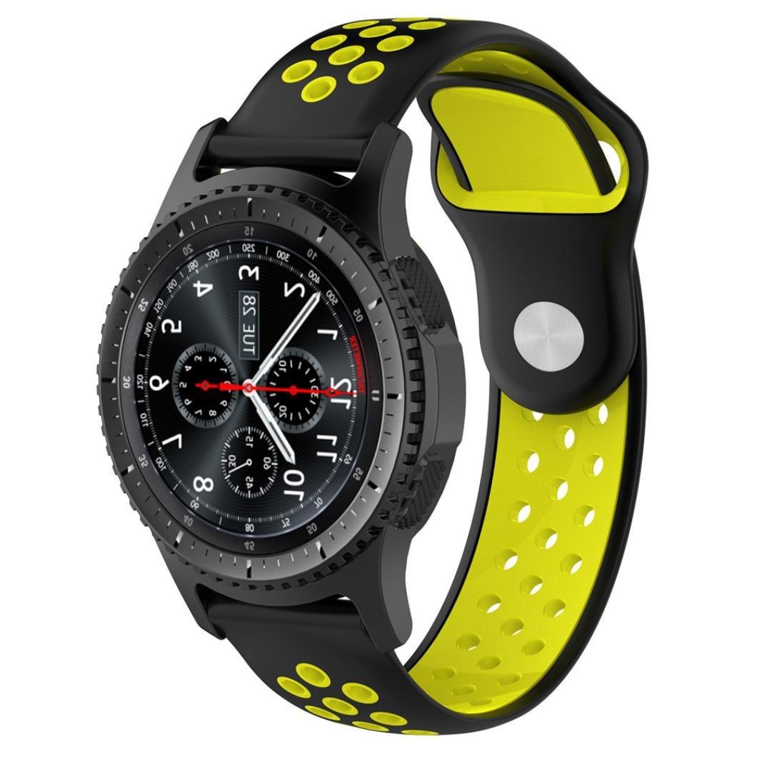 Malloom Impermeable Ligero ventilar Silicona Pulsera Correa de muñeca para Samsung Gear S3 Frontier Smartwatch (E): Amazon.es: Deportes y aire libre