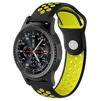 Malloom Impermeable Ligero ventilar Silicona Pulsera Correa de muñeca para Samsung Gear S3 Frontier Smartwatch (E)