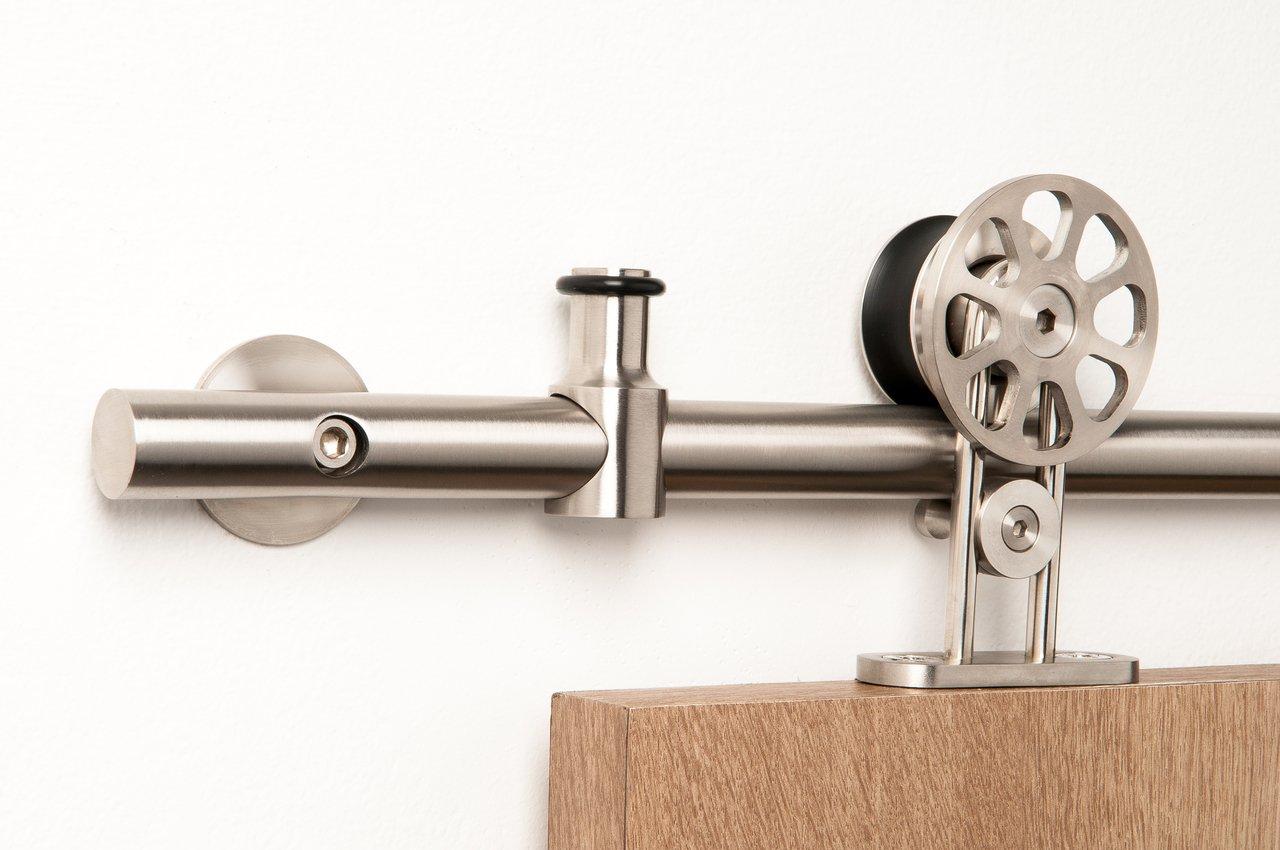 Double Door Set / Modern Stainless Steel Barn Door Hardware for Wood Doors / Satin Finish - Spinner WT Series (6' Rail Length)