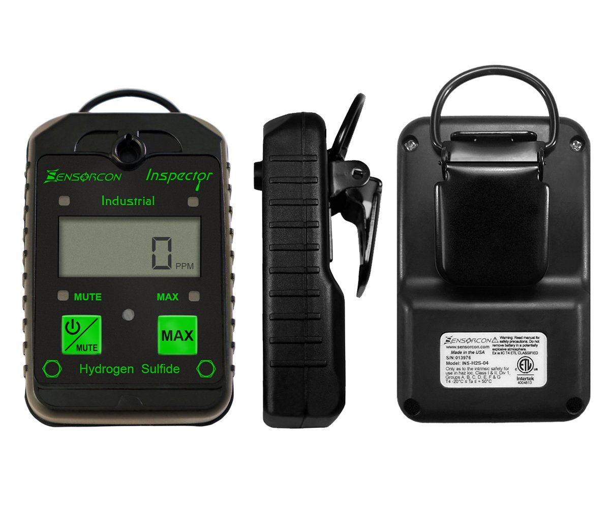 Tough, Waterproof, USA Made: H2S Monitor, Intrinsically Safe Hydrogen Sulfide Detector (H2S Inspector Industrial)