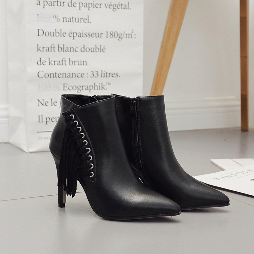 Aisun Damen Kunstleder Spitz Zehen Stiefel Schnürung Troddel Stiletto Kurzschaft Stiefel Zehen Mit Reißverschluss Schwarz 36758a