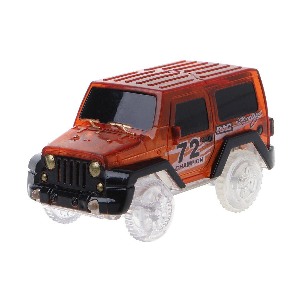 Exing Électronique Spécial Car for Magic Track 3 lumières Clignotantes à LED Cadeau Enfants Petite Voiture Jeep (Rouge)