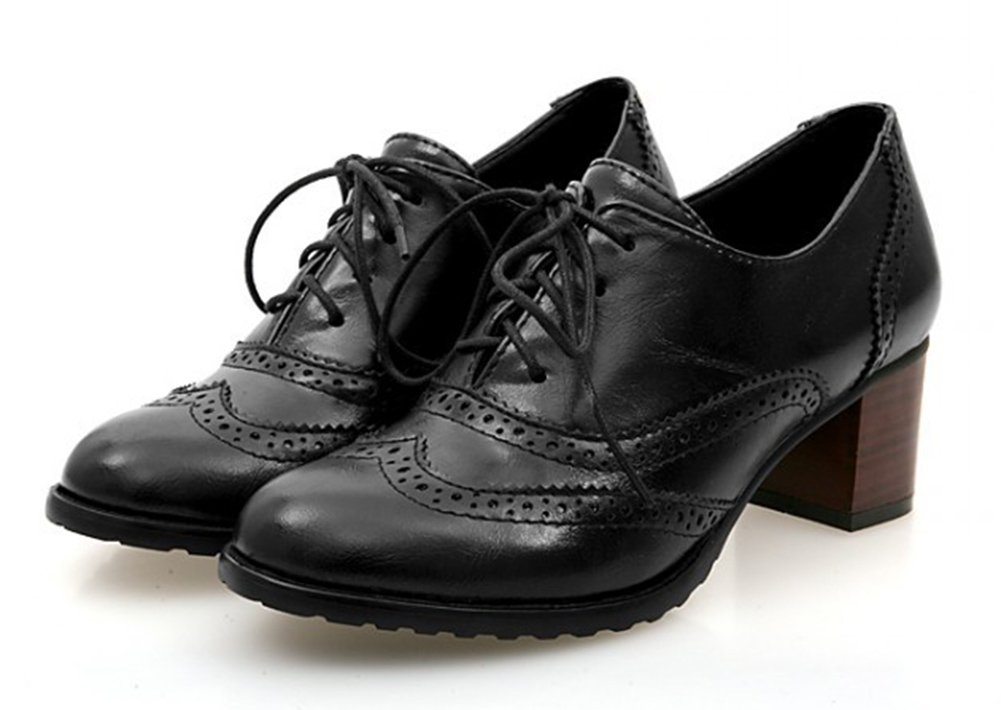 Aisun Women's Vintage Pointed Toe Dress Stacked Mid Heels Ankle Boots Lace Up Oxfords Shoes Black 8 B(M) US