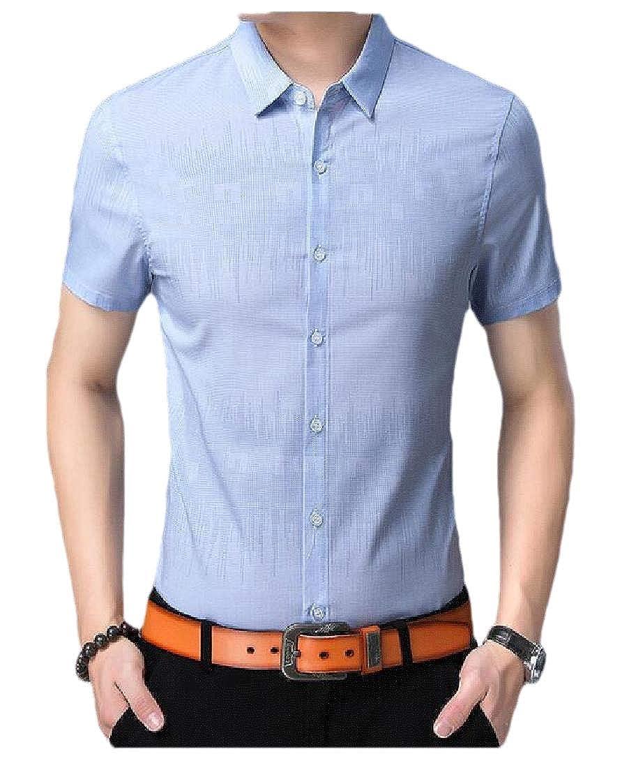 pipigo Mens Juniors Short Sleeve Button-Down Lapel Top Shirts