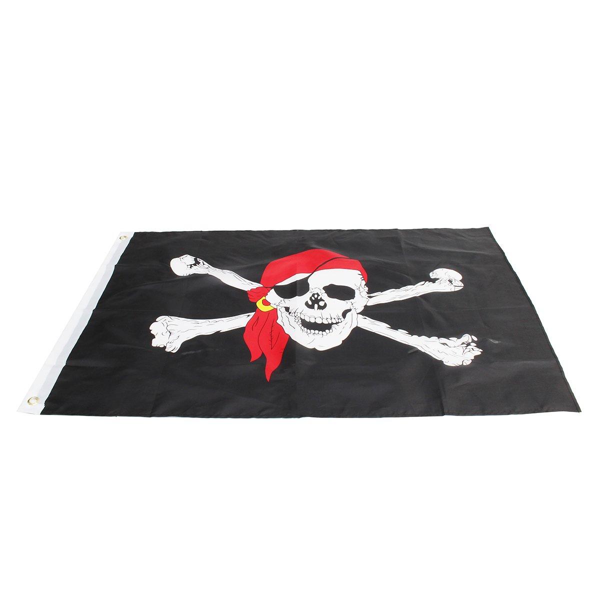 JenNiFer Cr/âne Crossbones Jolly Roger Pirate Drapeau avec Moto Bandana Drapeau Polyester