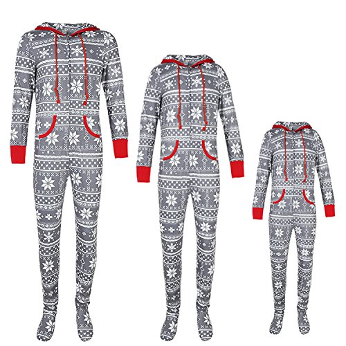 Kids Pajamas Girls/Boys Size 6,Holiday Matching Famialy Christmas Pajama Onesie Suits,Winter Spring Cotton Pattern Creneck Hoodie Conjoined Sleepwear Sets For Fmaily (Grey)