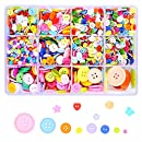 "1900 Pieces Assorted Sizes Resin Mixed Buttons 2 and 4 Holes Round Craft Buttons for Sewing DIY Crafts Children's Manual Button Painting 0.23""-1.2"""