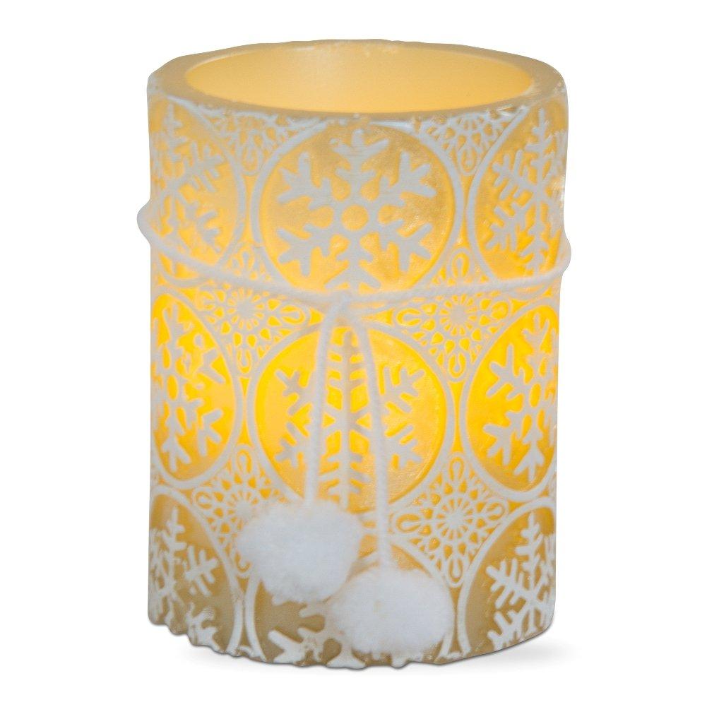 タグエンボスSnowflakes LED Pillar Candle ホワイト B01M1S4S23