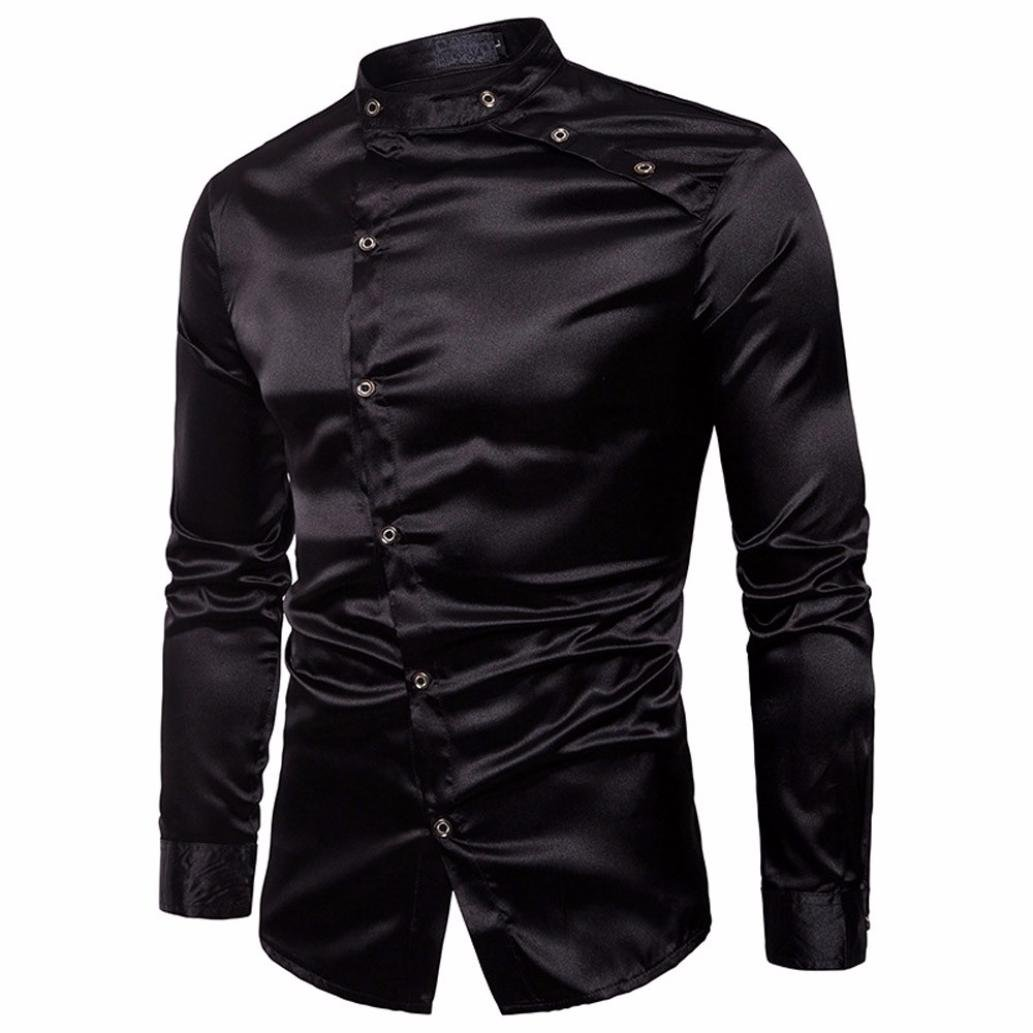 Aurorax Dress Shirt for Men Collar Button Down Casual Long Sleeve Regular Slim Fit Top Aurorax Dress Shirt for Mens Beach Work Business (Black