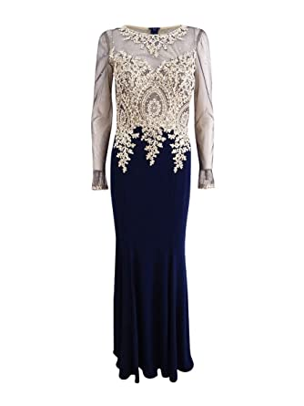 80029109 Image Unavailable. Image not available for. Color: Xscape Women's Plus Size  Embroidered Mesh Mermaid Gown ...