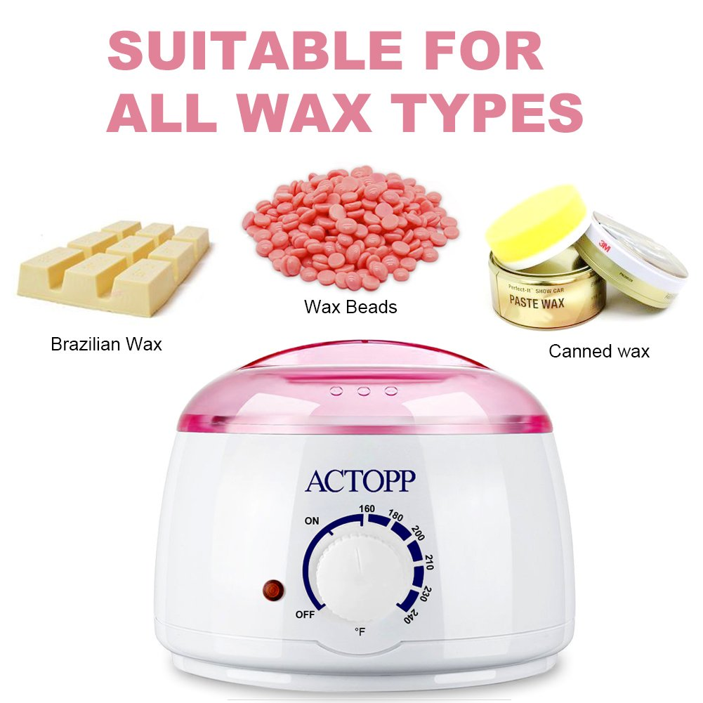 ACTOPP Wax Warmer Hair Removal Electric Wax Warmer with 4 Different Flavors Hard Wax Beans and 10 Wax Applicator Sticks DIY Depilatory Machine Ideal for Home Waxing Spa in Face Arm Armpits Legs Bikini
