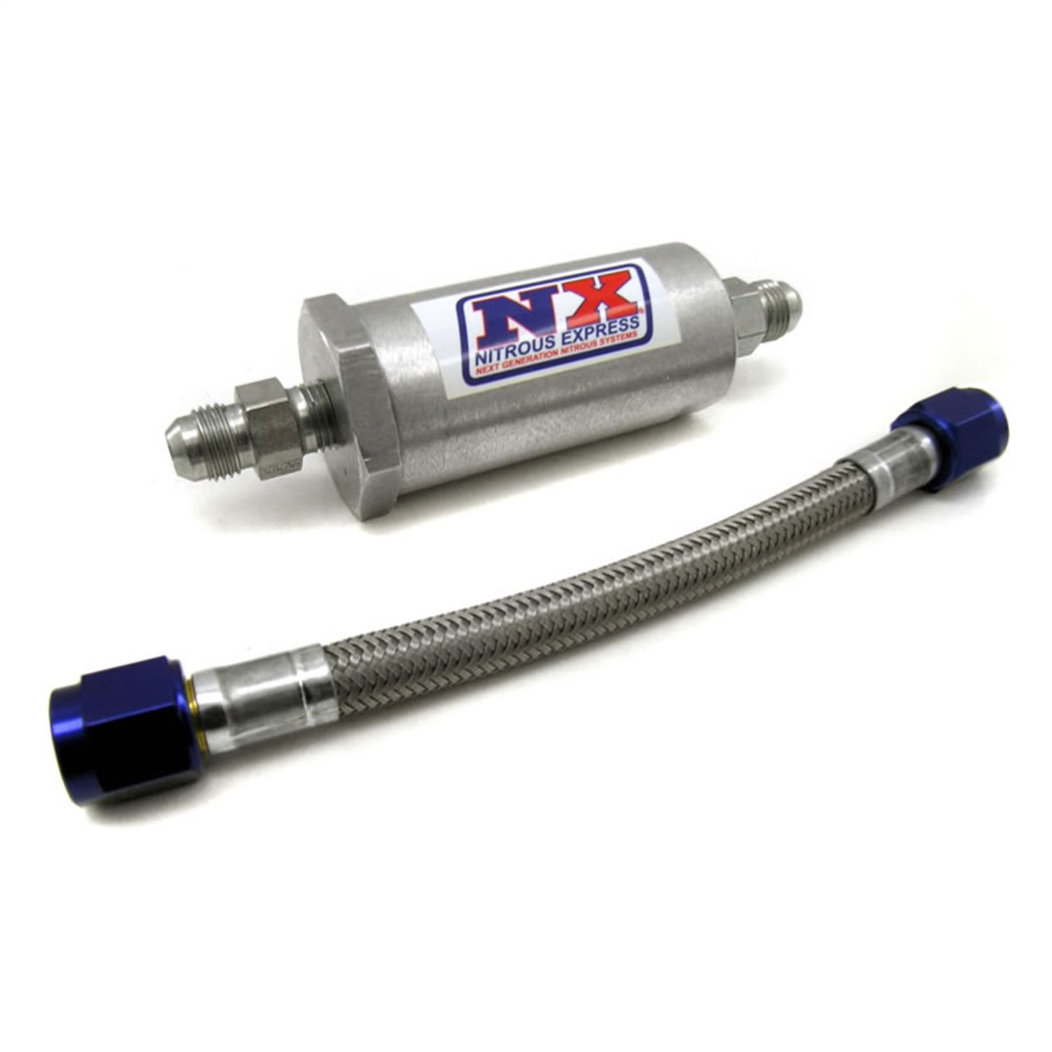 Nitrous Express 15607 D-4 Pure-Flo N2O Filter and 7'' Stainless Hose by Nitrous Express