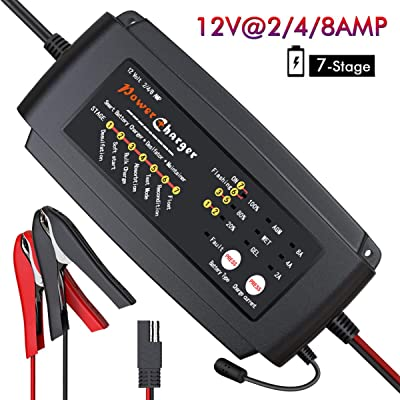 BMK 12V 2A 4A 8A Smart Battery Charger Portable Trickle Battery Maintainer with 7 Stages Fast Charging IP64 Waterproof Trickle Charger for Car Boat Lawn Mower Marine Sealed Lead Acid Batteries: Automotive