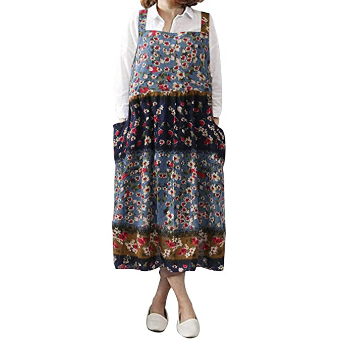 Women\'s Vintage Floral Printed Pinafore Overall Midi Dress ...