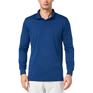 Baleaf Men's UPF 50+ Performance Quick Dry Golf Solid Polo Active Shirt Long Sleeve Royal Blue Size XL