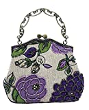 ILISHOP Women's Vintage Luxury Printing Beaded Women Handbag Evening Bag (Purple)