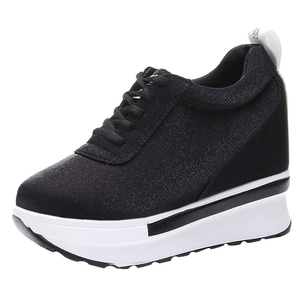 Women Increasing Height Sneakers Casual Platform Wedge Heel Slip On Ankle Shoes, Black, 7 M US by OcEaN Shoes